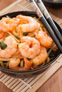 Prawn chow mein or lo stir fried prawns with egg noodles vegetables and bean sprouts Royalty Free Stock Images