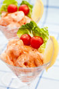 Prawn cocktail appetizer with small tomatoes Stock Photos