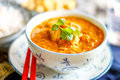 Prawn curry chinese indian fusion cuisine called dum dum with coconut milk Royalty Free Stock Photography