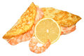 Prawn filled omelette freshly cooked folded and with prawns isolated on a white background Stock Images