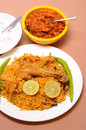 Prawn fry indian food plate of chicken biriyani with Stock Images