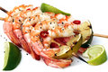 Prawn and Lime Skewers Royalty Free Stock Photo
