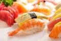 Prawn nigiri sushi and tuna nigiri sushi on nigiri sushi platter Royalty Free Stock Photo