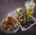 Prawn noodle-Chicken Manchurian-Smoothie Royalty Free Stock Photo