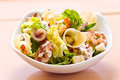 Prawn salad with cheese anchovies and greens Royalty Free Stock Images