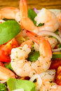 Prawn salad closeup detail with fresh and healthy seafood Stock Images