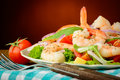 Prawn salad closeup of fresh and healthy seafood and vegetables Stock Image