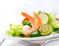 Prawn salad healthy shrimp with mixed greens and tomatoes Stock Photography