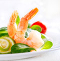 Prawn salad healthy shrimp salad mixed greens tomatoes Stock Images
