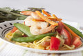 Prawn salad a plate with and vegetables Royalty Free Stock Images