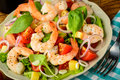 Prawn salad tasty meal with fresh and healthy and vegetables Stock Images