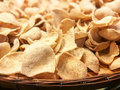 Prawn Shrimp Crackers on wooden container Royalty Free Stock Photo