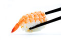 Prawn sushi with chopsticks chopstick on the white background Stock Photography
