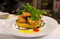 Prawns bruschetta with and garlic sauce Stock Photo