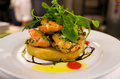 Prawns bruschetta with and garlic sauce Royalty Free Stock Photography