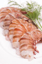 Prawns with dill on a plate Royalty Free Stock Image