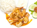 Prawns grilled with rice Royalty Free Stock Photo