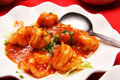 Prawns with red chili sauce Royalty Free Stock Photo