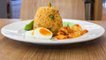 Prawns Sweet Pork Fried Rice with Chilli Sauce Royalty Free Stock Photo