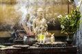Pray budha incense smoke for Stock Photography