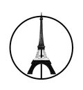 Pray for Paris Concept, Eiffel Tower Model in Monotone Black and White Stripe printed by 3D Printer in Peace Sign Isolated on Whit Royalty Free Stock Photo