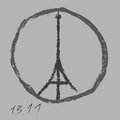 Pray for Paris. Eiffel Tower logo by freehand charcoal drawing. 13 November 2015. Pray for France. Peace. No war. Vector Royalty Free Stock Photo