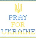 Pray for ukraine poster with coat of arms digital embroidering Royalty Free Stock Photo