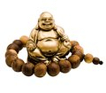Prayer bead around laughing buddha Royalty Free Stock Photos