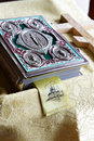 Prayer bible and wooden cross on table in Church Royalty Free Stock Photography