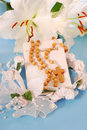 Prayer book and rosary for first holy communion Royalty Free Stock Photos