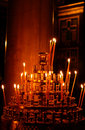 Prayer candles in a greek orthodox church Royalty Free Stock Photography