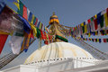Prayer flags at a Buddhist temple Stock Photos