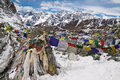 Prayer flags at the cho la pass himalayas nepal in mountains Royalty Free Stock Photos