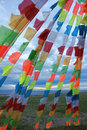 Prayer flags the close up of tibetan Royalty Free Stock Image