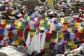 Prayer flags of different colors at Khardung La (pass), Ladakh Royalty Free Stock Photo