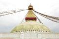 Prayer flags and main shrine of the Swayambhunath Stupa