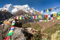 Prayer flags and mount Kongde near Namche Bazar village Royalty Free Stock Photo