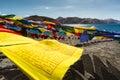 Prayer flags at Pangong Lake.Blur on foregroud. Royalty Free Stock Photo