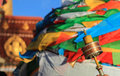 Prayer flags and prayer wheel in tibet of china Royalty Free Stock Photos