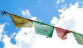 Prayer flags a row of colorful in yunnan Stock Photography