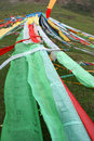 Prayer flags the tibetan at mountain slope Stock Photo
