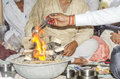 Prayer indian way religious offering called havan and prayers in hinduism Stock Images