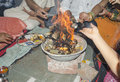 Prayer indian way religious offering called havan and prayers in hinduism Royalty Free Stock Images