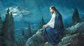 Stock Photo The prayer of Jesus in the Gethsemane garden. Typical cahtolic printed image from the end of 19. cent.
