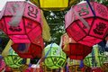 Prayer lanterns colorful in the breeze Stock Images