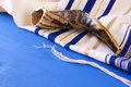 Prayer Shawl - Tallit and Shofar & x28;horn& x29; jewish religious symbol