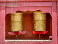 Prayer wheel buddist wheels used in the temples Stock Photography
