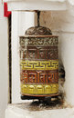 Prayer wheel in swayambhunath stupa wheels are used to accumulate wisdom and good karma and to purify bad karma Stock Photos