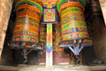 Prayer wheels colorful buddhist in nepal Royalty Free Stock Photos