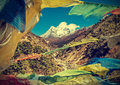 Prayers flags in himalaya mountains nepal vintage retro style effect Stock Images